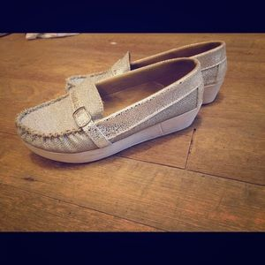 Silver Loafer Wedges Glittery wos size 6.5 White